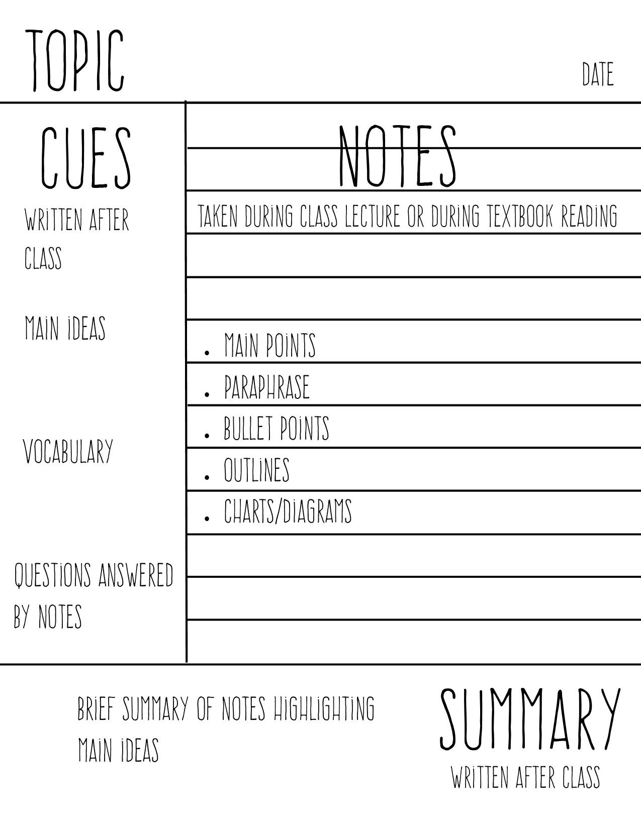 Study Aholic Cornell Notes Guide This Is Just A Simple Guide I Whipped Up For Myself For When I M Using Cornell Cornell Notes Study Notes School Study Tips