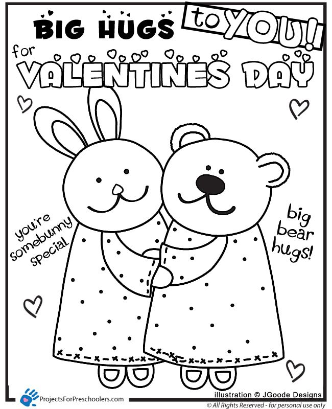 Printable Valentine Bunny Bear Hugs Coloring Page From