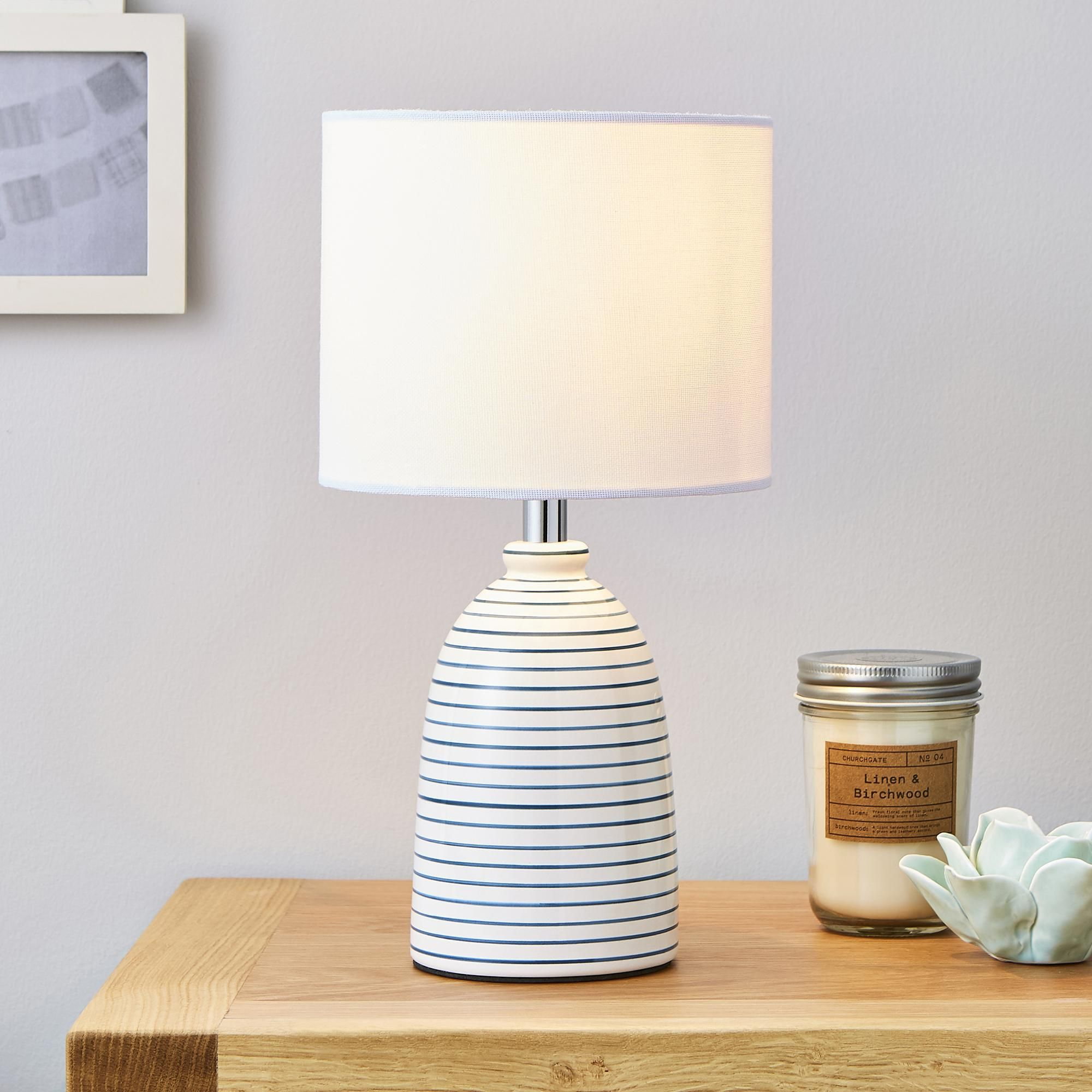 Tenby Ceramic White And Navy Table Lamp Table Lamp Table Lamp