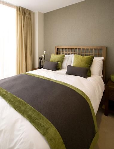 Shapely Green And Brown Bedroom Decor