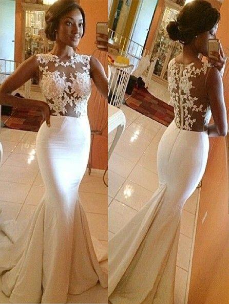d817007db7dd08 Trumpet Mermaid High Neck Satin Applique Sleeveless Sweep Brush Train Wedding  Dresses
