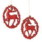 Debbie Travis Deer Silhouette Wreath Ornament, Red   Canadian Tire $1.00
