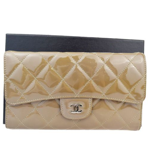 Auth-CHANEL-CC-Quilted-Long-Trifold-Wallet-Purse-Patent-Leather-Brown-62S707