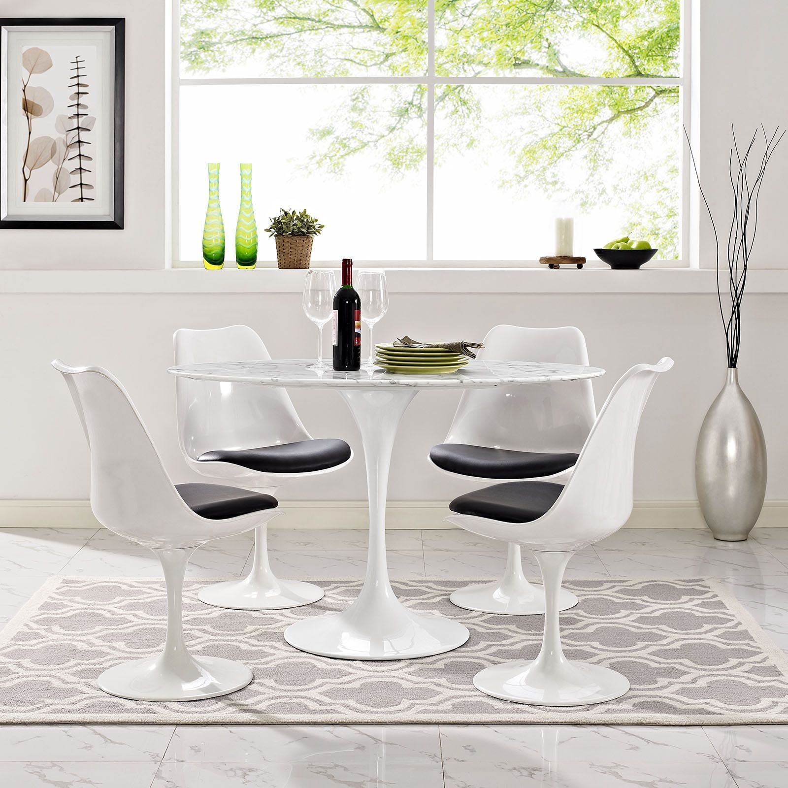 Modway Lippa 48 Oval Shaped Artificial Marble Dining Table White