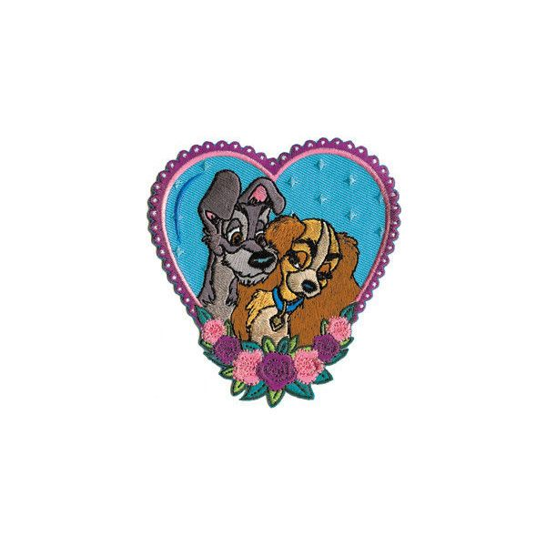 Disney Lady & The Tramp Heart Embroidered Iron On Applique Patch (7.86 CAD) ❤ liked on Polyvore featuring fillers, patches, extra, accessories and badges