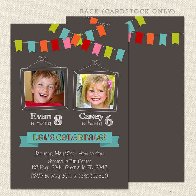 Bunting joint birthday party invitations lil sprout greetings bunting joint birthday party invitations lil sprout greetings m4hsunfo