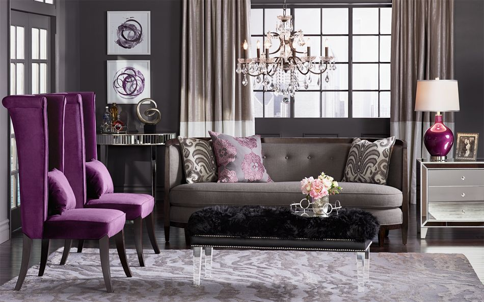 Grey And Purple Living Room property brothers - adam & julie gray couches purple accent