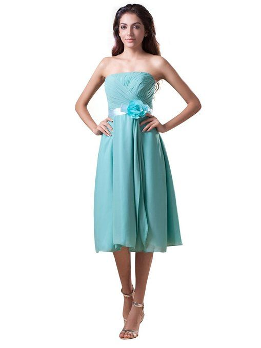 $140 Topwedding Women's Tea Length Straight Neck Chiffon A Line Dress at Amazon Women's Clothing store: Royal Purple Dresses
