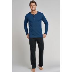 Photo of Pajamas long button placket royal-black striped – Dark Wonder 58Schiesser.com