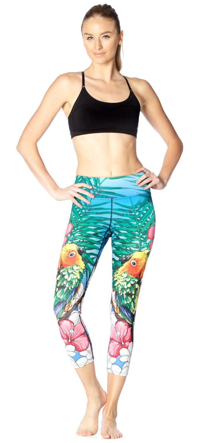 "Eagle Rock Werkshop ""Lovebirds"" yoga pants (even though they're sun conures not lovebirds)"
