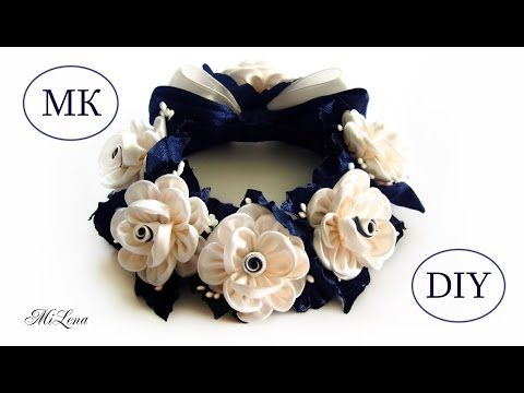 РЕЗИНКА НА ПУЧОК, МК / DIY Kanzashi Flower Bun Garland Headband / DIY Hair Bun Scrunchies Headband