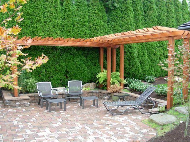 Aménagement extérieur cour arrière et terrasse | Pergola en bois ...