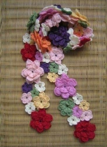 12 2011 Crochet Flower Scarf - Did this monochromatic-style in a deep red b9f83935e