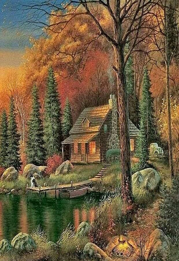 Sam Timm | Пейзажи, Рисунки пейзажей, Картины пейзажа