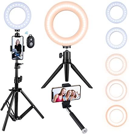 Amazon Com Victsing Ring Light With Tripod Stand Selfie Light Kit For Phone Dimmable Beauty Ringlight For Live S In 2020 Selfie Light Video Lighting Youtube Makeup