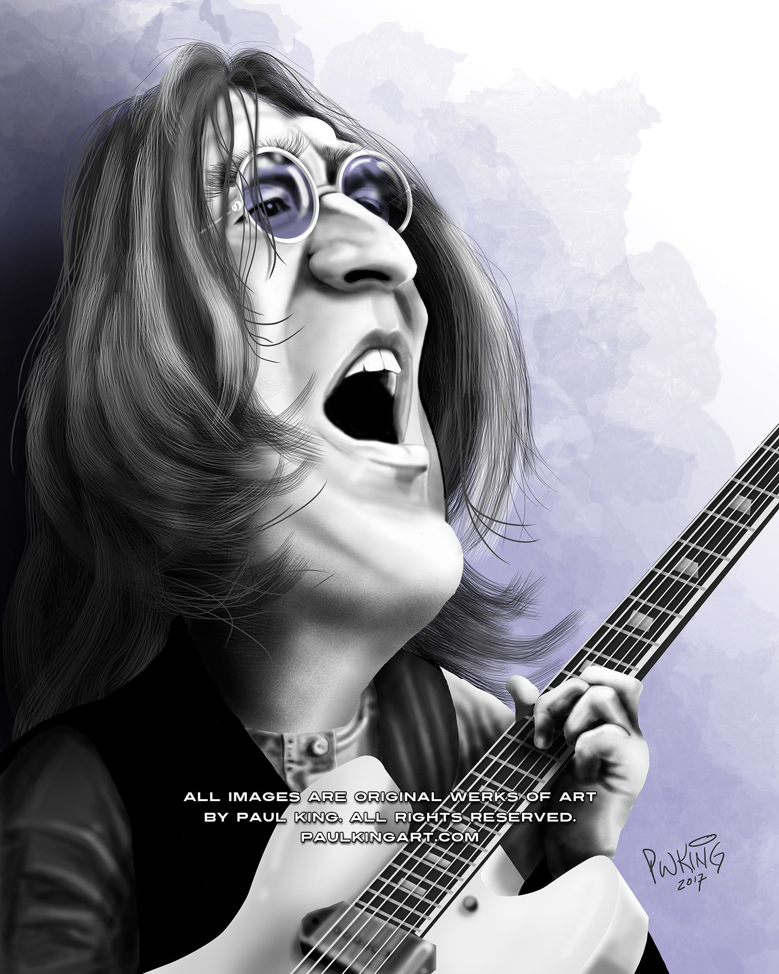 John Lennon Caricature 1968 White Album Sessions Here With His 1965 Epiphone Casino Note The Prudence In Dear Prudence Caricature Music Art Mia Farrow