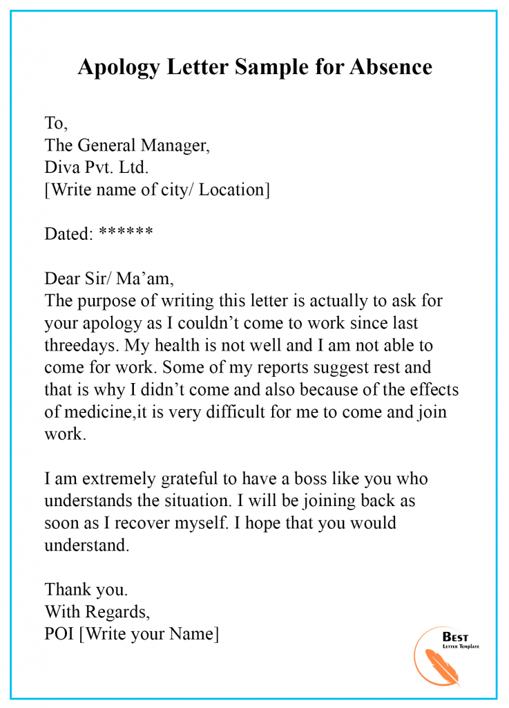 Apology Letter Template For Absence Format Sample Example Best Letter Template Essay Writing Skills Formal Letter Writing Good Vocabulary Words