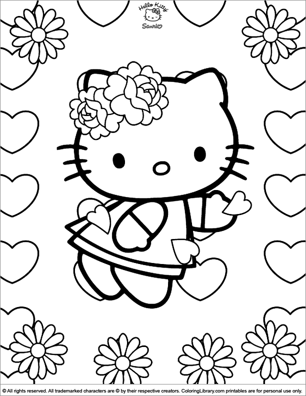 Hello Kitty Coloring Picture Hello Kitty Coloring Hello Kitty Colouring Pages Valentines Day Coloring Page