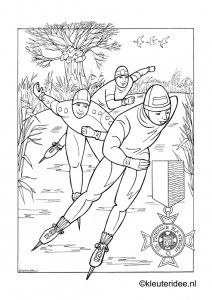 kleurplaat elfstedentocht kleuteridee skating