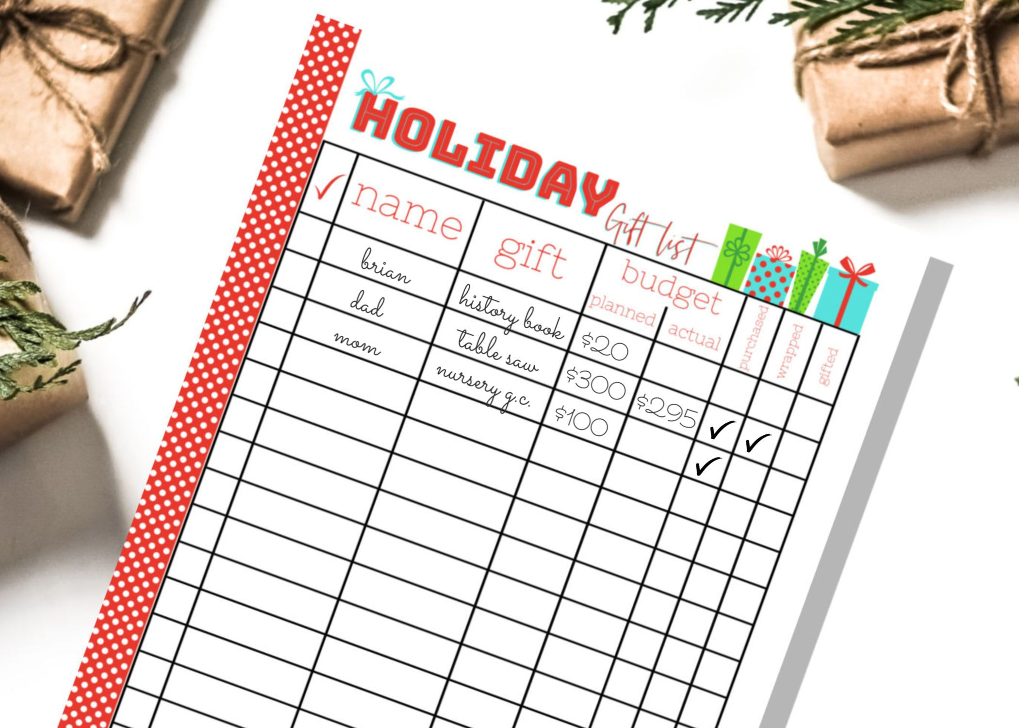 Free Printable Holiday T List Planner Amp List Organizer