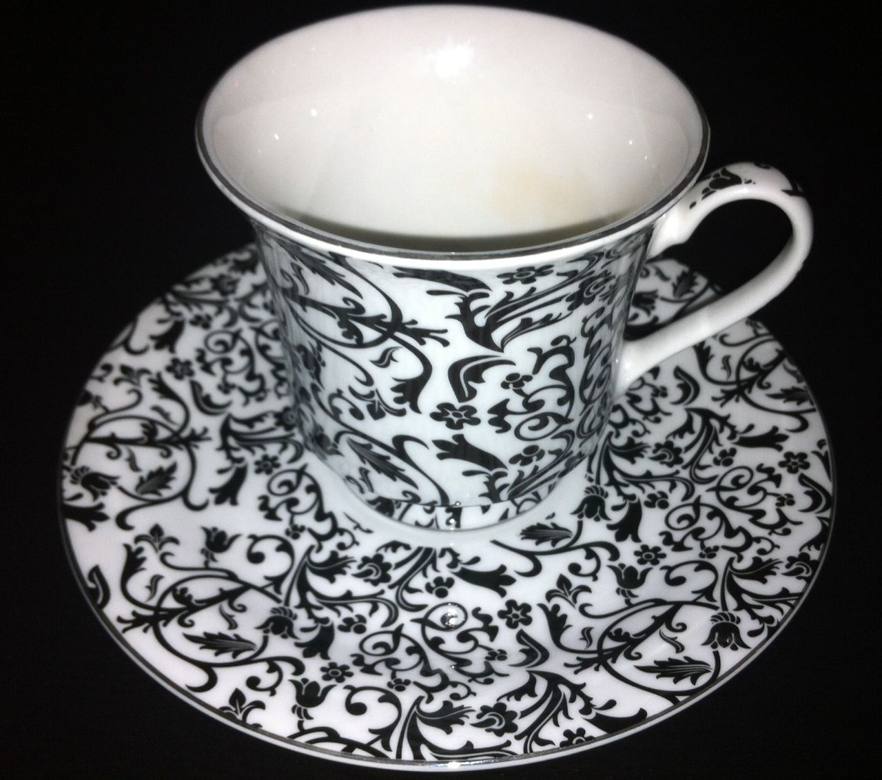 Cup and saucer to match your black and white cupcakes