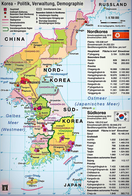 Die Koreanische Halbinsel Politk Verwaltung Und Demographie