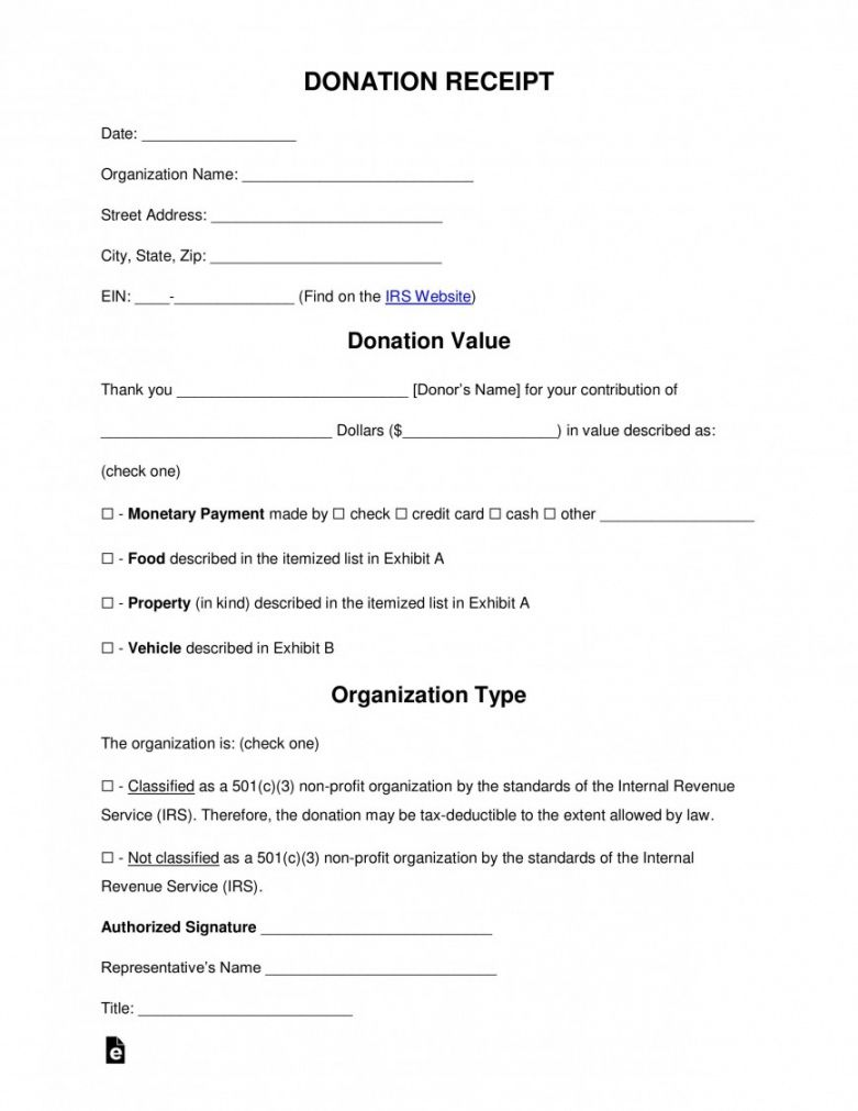 Free Donation Tax Receipt Template