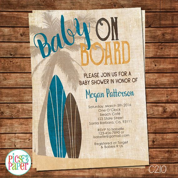 surf baby shower invitation vintage style - baby on board- brown, Baby shower invitations