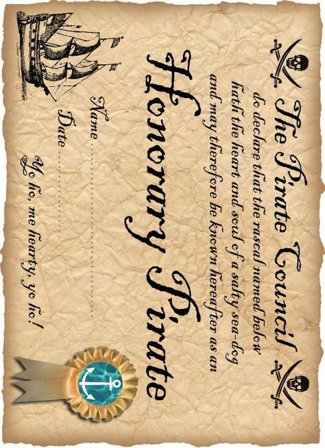 Definitely Free Printable Honorary Pirate Certificate Library