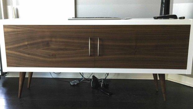 Ikea Kallax Credenza : Mid century modern kallax with a walnut face living room ikea
