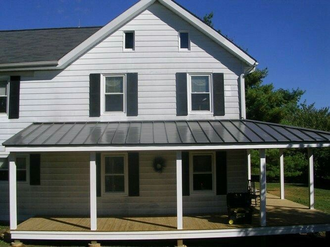 Metal Roof Over Deck With Asphalt Shingles On House Patio Roof