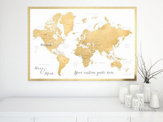 current turnaround for custom items 1 to 5 working days this personalized map personalized couple names personalized quote printable gold world map with countries states large world map 044 gumiabroncs Image collections