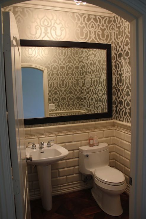 Combo of tile, wallpaper, and adding a frame to existing mirror | bathroom dreams | Bathroom ...