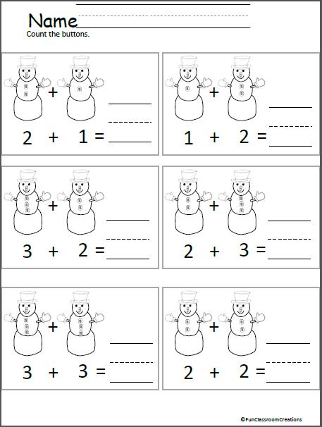 Snowman Button Addition For Kindergarten | Kindergarten, Snowman and ...