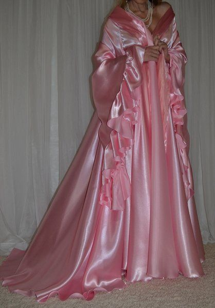 Sexy Vintage Lingerie Silky Satin Nightgown Negligee Full