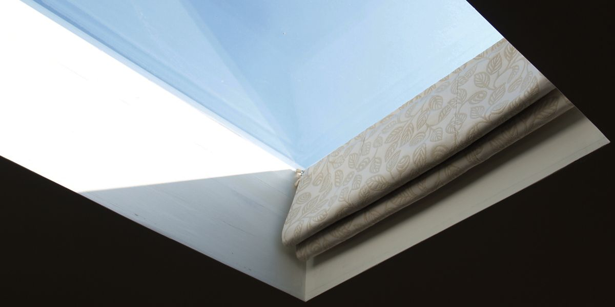 Looks like a roman blind when open playroom ideas Velux skylight shade