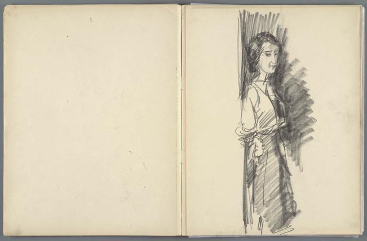 tekening, schetsboek na (1885 - 1935) Isaac Israels