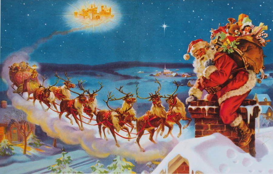 Vintage Santa S Christmas Sleigh Reindeer On Rooftop Merry Christmas Vintage Vintage Santas Christmas Scenes