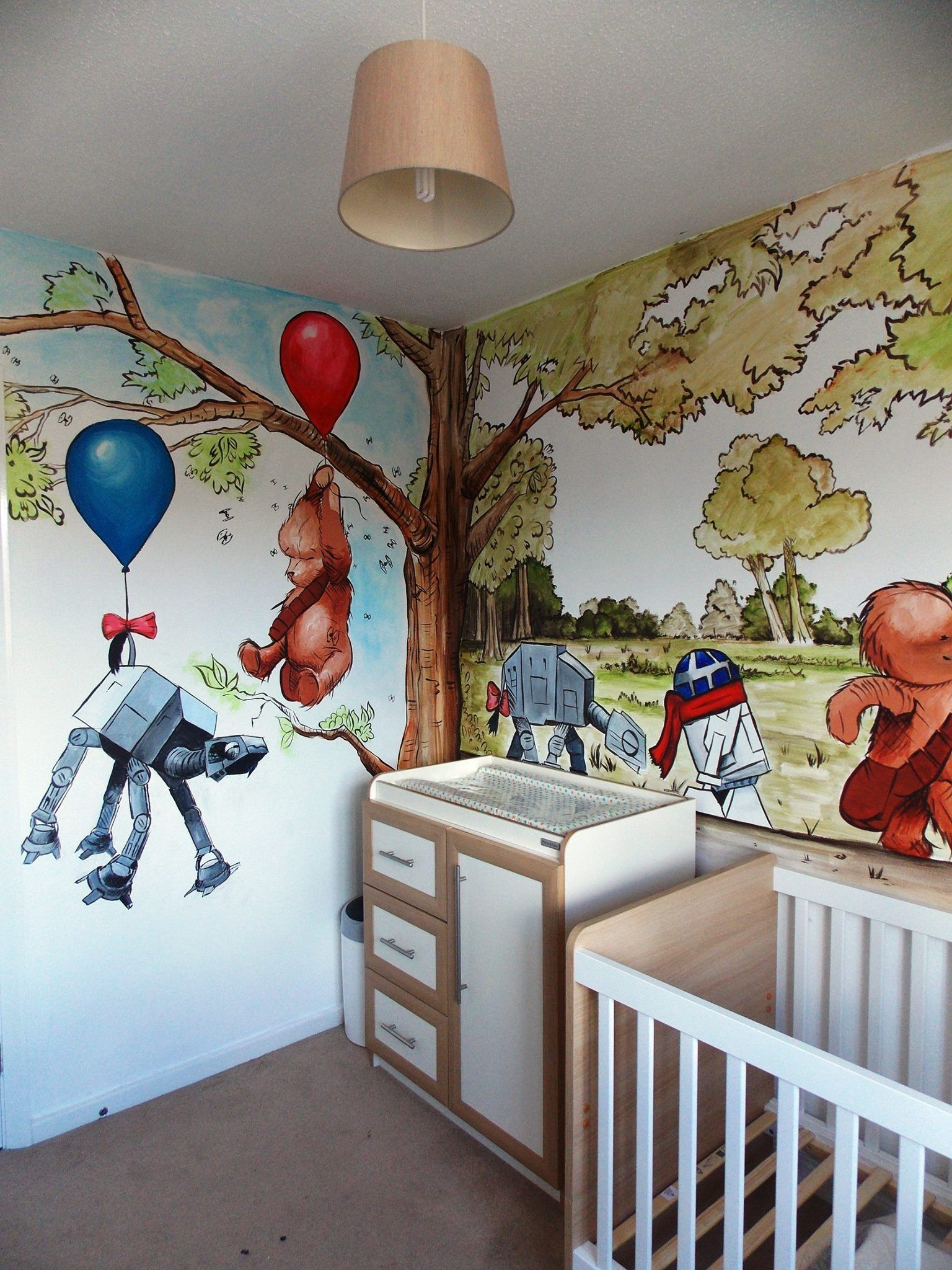 Star Wars Winnie The Pooh Mural Inspired By James Hance Star