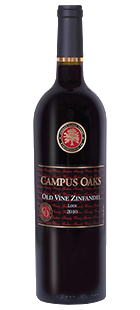 Campus Oaks Old Vine Zinfandel. Sourced from four blocks of vineyards which average 80+ years of age, this Zinfandel delivers a great nose, wonderful mouth-feel, good legs and a silky-smooth finish.