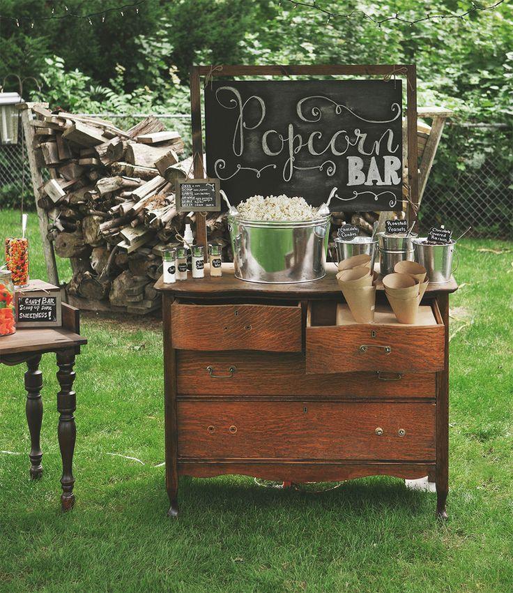 Outside Wedding Food Ideas: 28 Exciting Popcorn Bar Buffet Food