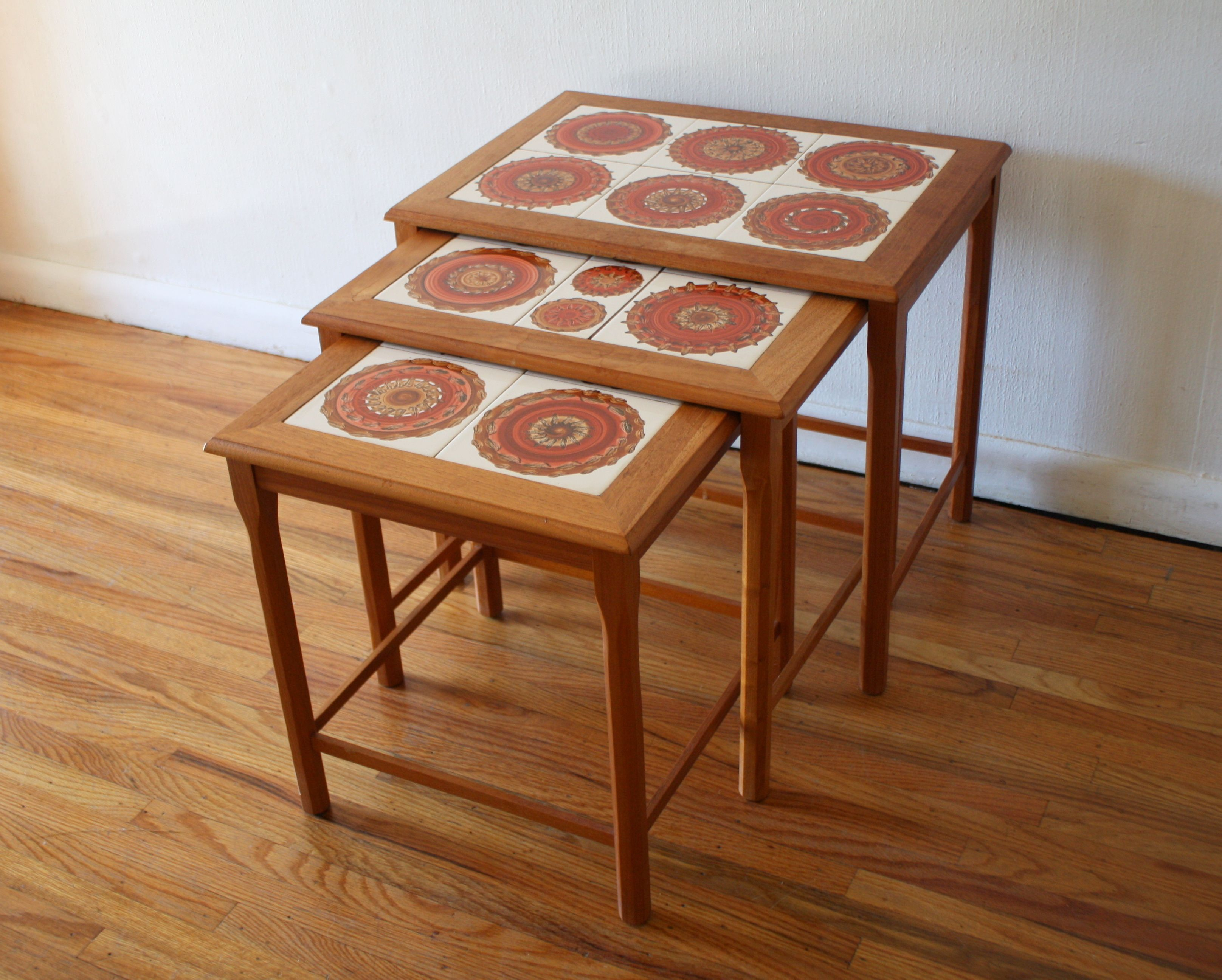 Mid Century Modern Danish Teak Nesting Tile Top Tables With Vibrant  Abstract Design