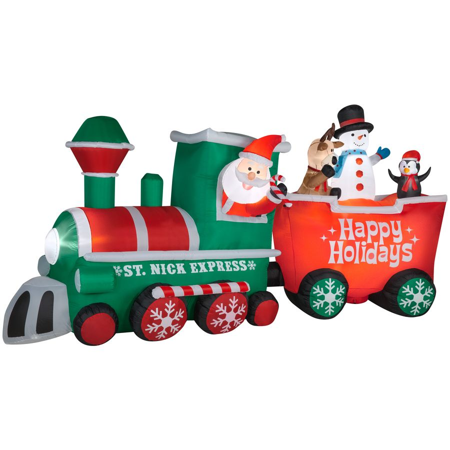 Lowes Christmas Inflatables.Shop Gemmy 7 71 Ft Lighted Train Christmas Inflatable At