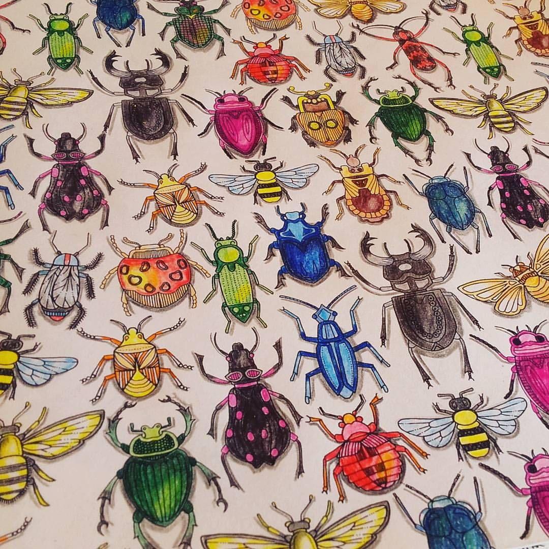 Bugs! #coloring #colors #coloringbook #johannabasford #secretgarden #jardimsecreto #adultcoloringbook #secretgardencoloringbook #staedtler #ergosoft #l4l #streesreliever #antistress #noris #norisclub