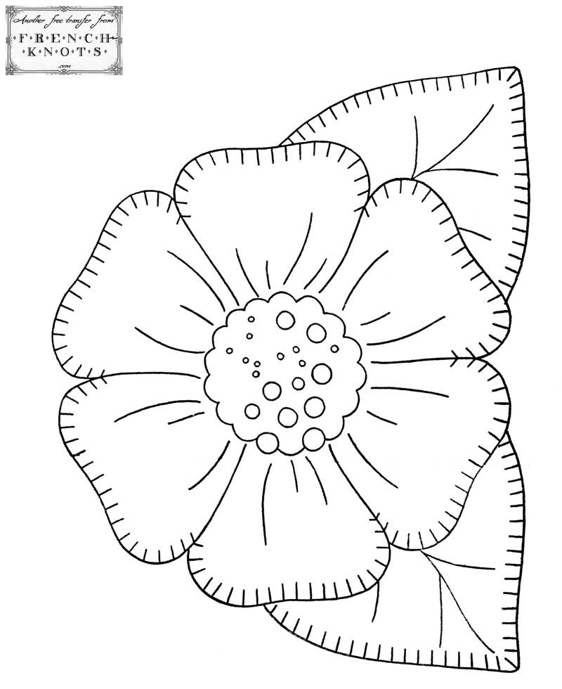 Rare image for free printable flower applique patterns