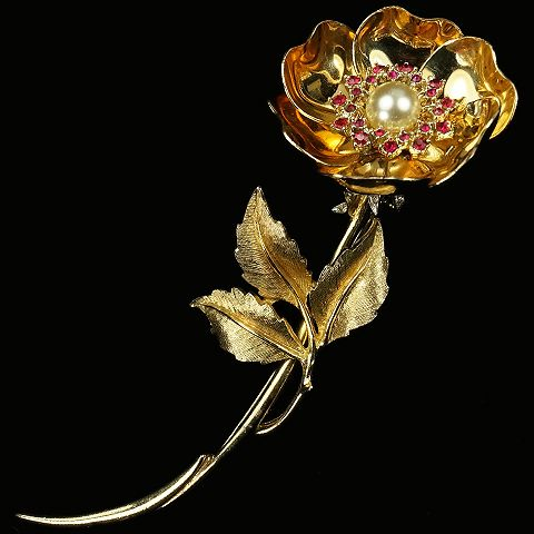 Boucher Gold Rubies and Pearl Flower with Mechanical Opening and Closing Petals on Leaf Stem Pin