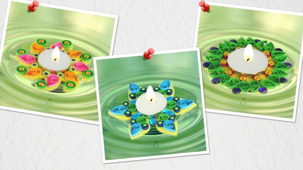 Diwali floating diya decoration fascinating quilling for Diya decoration youtube