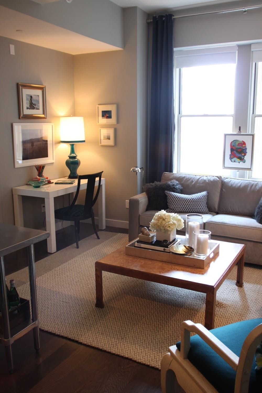 Ron S Perfectly Suited Fidi Flat Desk In Living Room Living Room Office Combo Small Apartment Living Room