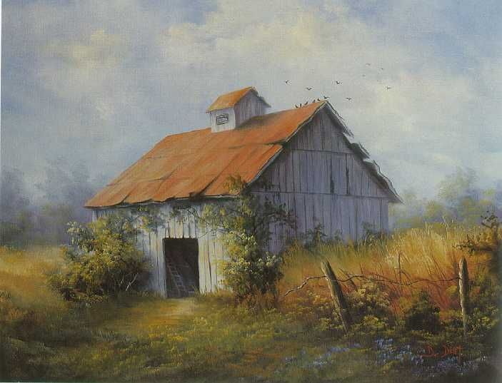 Old barn painting art acrylics oils pinterest for Watercolor barn paintings