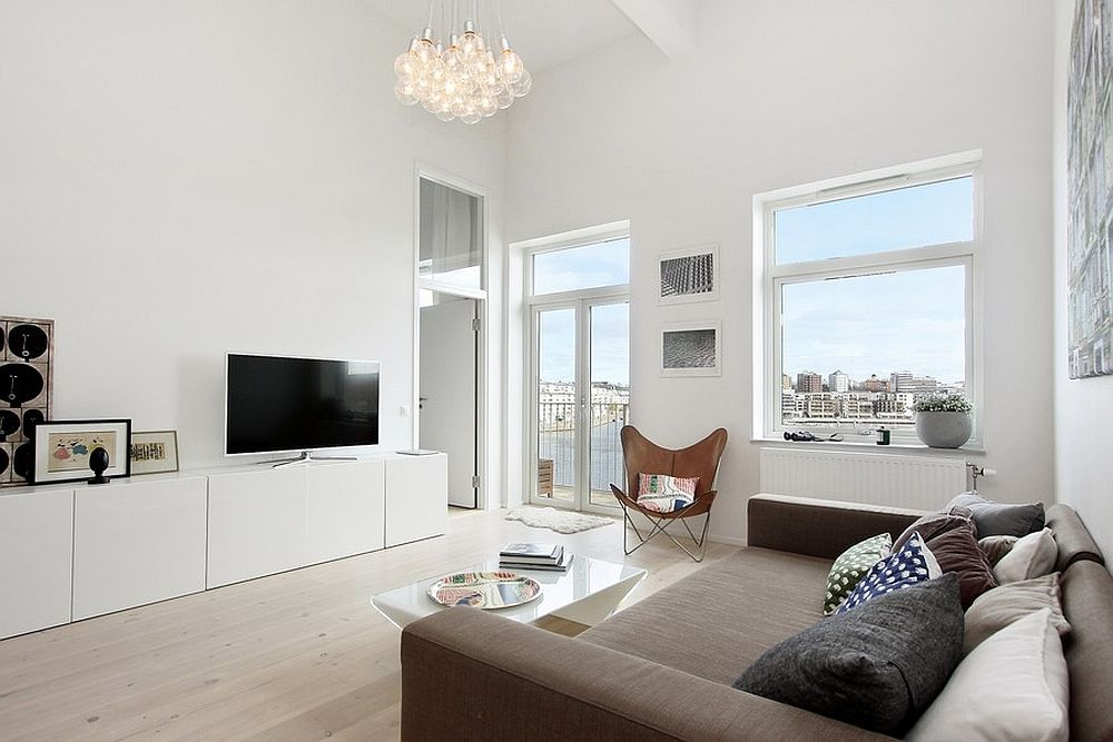 Woonkamer Van Muji : Witte woonkamer met parket moove interieur woonkamer